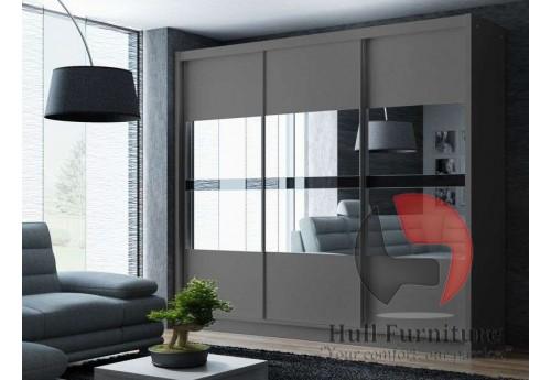 BATIA wardrobe 250cm, 3 mirrors with black glass, graphite