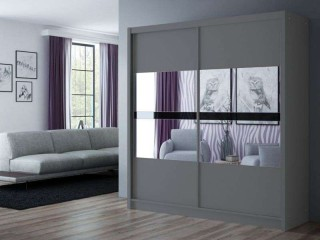 BATIA wardrobe 200cm, 2 mirrors with black glass, graphite