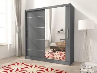 Maya I Alu wardrobe 200cm, 1 large mirror, grey matt