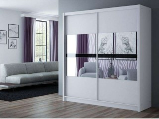BATIA wardrobe 200cm, 2 mirrors with black glass, white