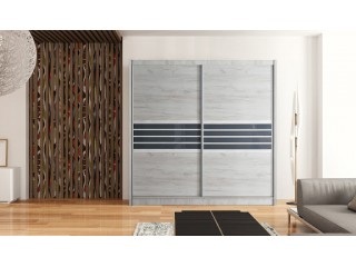 TERMA wardrobe 200cm, craft oak + graphite glass