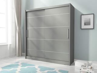 Maya Alu - wardrobe 180cm or 200cm, grey matt