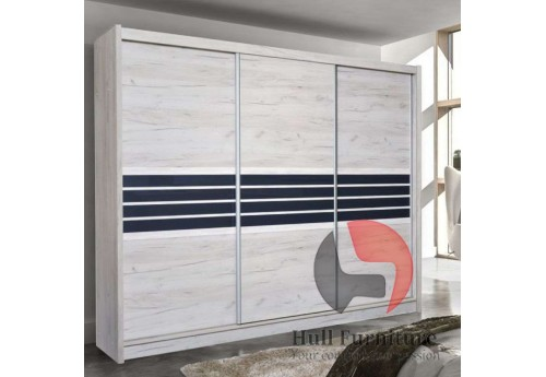 TERMA wardrobe 250cm, craft oak + graphite glass