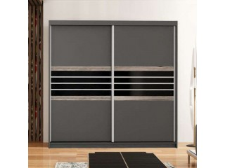 TERMA wardrobe 200cm, lava + black glass