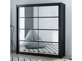 DELTA wardrobe 160cm, mirrors on both doors, black matt