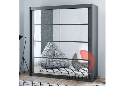 DELTA wardrobe 160cm, mirrors on both doors, grey / graphite matt