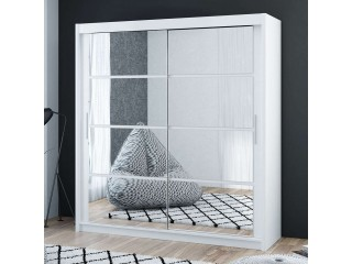 DELTA wardrobe 200cm, mirrors on both doors, white matt