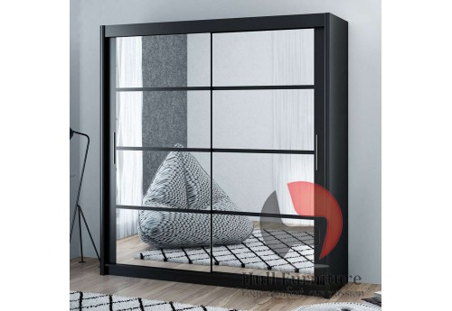 DELTA wardrobe 200cm, mirrors on both doors, black matt
