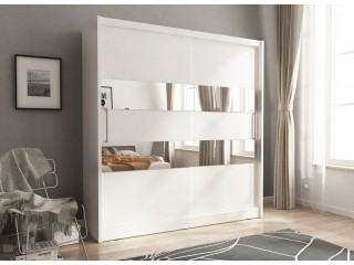 Maya  III - wardrobe with mirrors 180cm or 200cm,  White + mirror