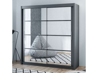 DELTA wardrobe 200cm, mirrors on both doors, graphite/grey