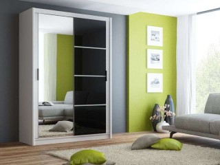 BRANDY wardrobe 150cm, white mat + black gloss + large mirror