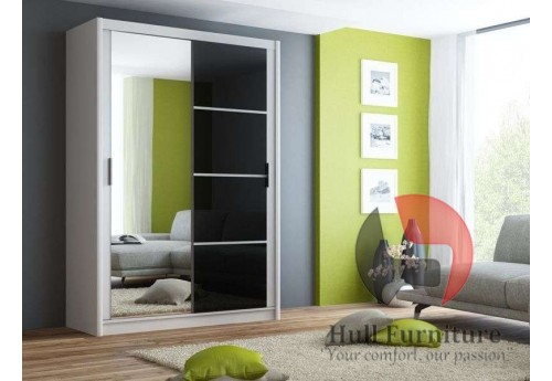 BRANDY wardrobe 150cm, white mat + black gloss + large mirror
