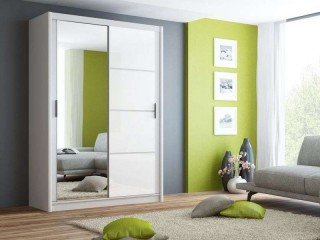 BRANDY wardrobe 150cm, white mat + white glass + large mirror