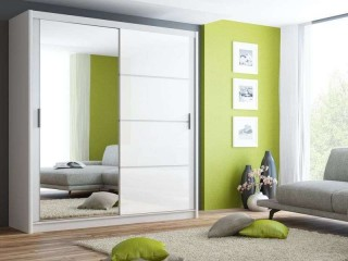 BRANDY wardrobe 200cm, white mat + white glass + large mirror