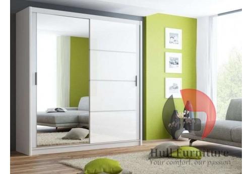 BRANDY wardrobe 200cm, white mat + white glass + large mirror
