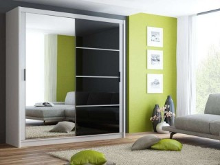 BRANDY wardrobe 200cm, white mat + black glass + large mirror