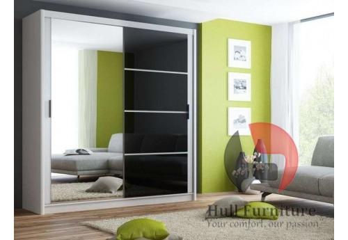 BRANDY wardrobe 200cm, white mat + black glass + large mirror
