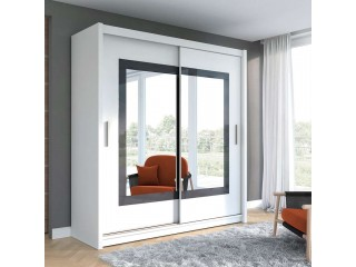 PRIM wardrobe 200cm, white mat + grey glass + large mirrors