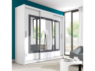 PRIM wardrobe 250cm, white mat + grey glass + large mirrors