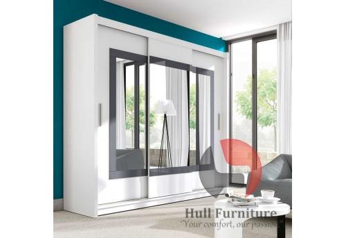 PRIM wardrobe 250cm, white mat + grey glass + large mirrors