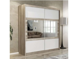 SHURI wardrobe 200cm, canyon oak + white matt + mirrors