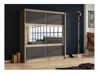 SHURI wardrobe 200cm, canyon oak + lava + mirrors