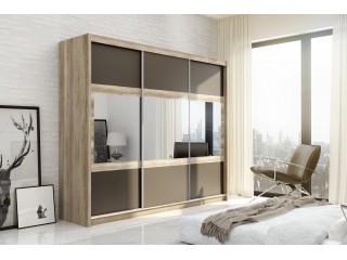 SHURI wardrobe 250cm, canyon oak + lava + mirrors