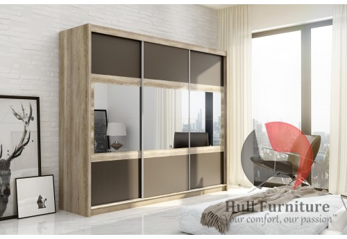 SHURI wardrobe 250cm, canyon oak + lava + mirrors