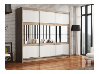 SHURI wardrobe 250cm, canyon oak + white matt + mirrors