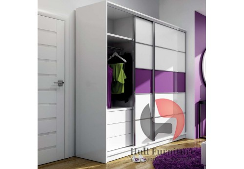 DAFNE wardrobe 226cm, white matt + purple glass