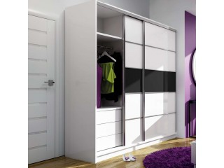 DAFNE wardrobe 226cm, white matt + black glass