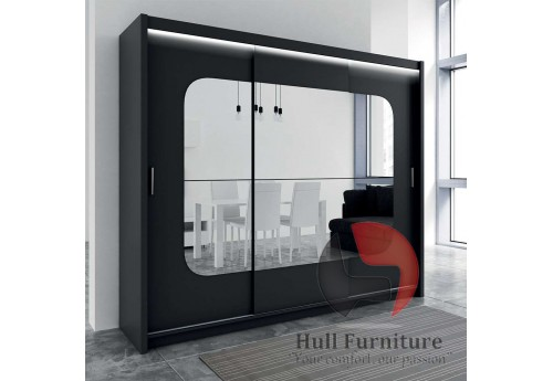 BELITA wardrobe 250cm, black matt + mirrors + led lights