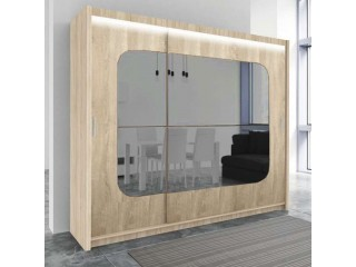 BELITA wardrobe 250cm, sonoma oak + mirrors + led lights
