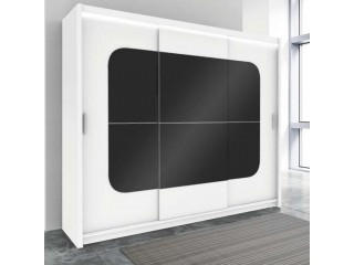 BELITA wardrobe 250cm, white matt + black matt + led lights
