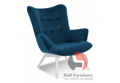 Chair - navy blue, white legs