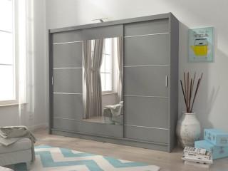 Victoria ALU 250cm - FREE LED LIGHT - Sliding door wardrobe with mirror