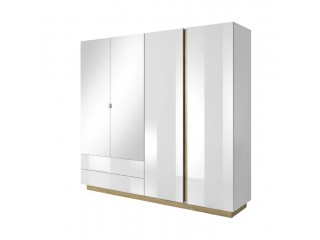 Ares - 4 Door 2 Drawer Mirrored Wardrobe, 220 cm x 202,4 cm x 54 cm