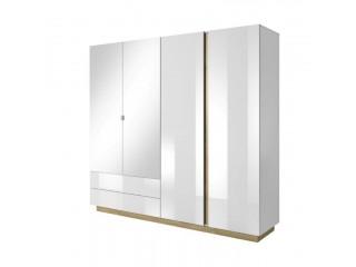 Ares - Szafa 4D, Biały połysk + dąb grandson - 220 cm x 202,4 cm x 54 cm