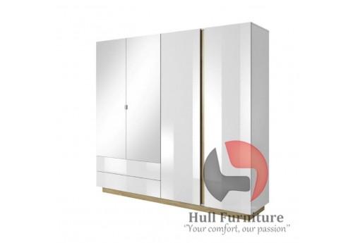Ares - 4 Door 2 Drawer Mirrored Wardrobe, 220 cm x 202,4 cm x 54 cm