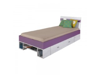 NET - Single bed L/R NX19 Bleached pine / purple
