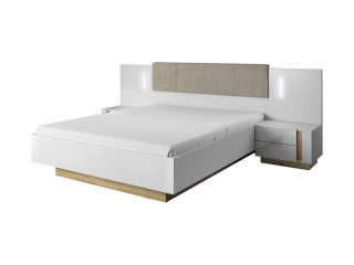 Ares - Kingsize Bed in white with an Oak Trim with 2 bedside tables,  224.5 cm  x 104.5 cm  x 210.5 cm
