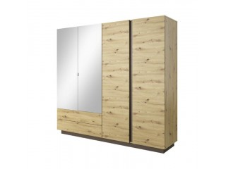 Ares - 4 Door 2 Drawer Mirrored Wardrobe, 220 cm x 202,4 cm x 54 cm, Oak + Grey
