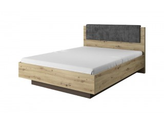 Ares - Kingsize Bed in white with an Oak Trim, 164.5 cm x 104.5 cm x 210.5 cm
