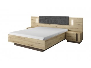 Ares - Kingsize Bed with 2 bedside tables, 224.5 cm x 104.5 cm x 210.5 cm, Oak + Grey