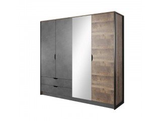 Arlo - 4 Door 2 Drawer Mirrored Wardrobe, 220 cm x 202,4 cm x 54 cm, Oak + Grey