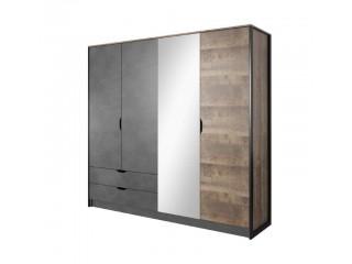 Arlo - Szafa 4D,  220 cm  x 202,4 cm  x 54 cm, dąb artisan / szary grafit