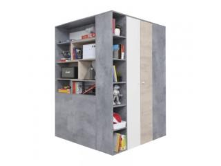 Simba - Garderoba, 135 / 190 / 135 cm - Beton / Biały Lux / Dąb