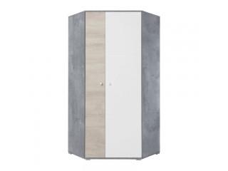 Simba - Szafa Narożna, 90 / 190 / 90 cm - Beton / Biały Lux / Dąb