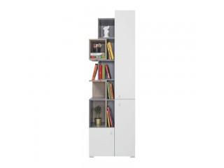 Simba - Regał trzydrzwiowy, 60 / 190 / 40 cm - Beton / Biały Lux / Dąb