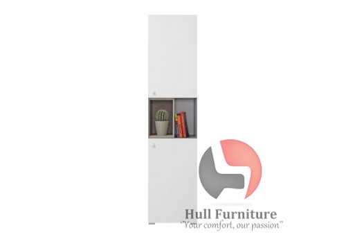 Simba - Bookcase, 45/ 190 / 40 cm - Concrete / White Lux / Oak